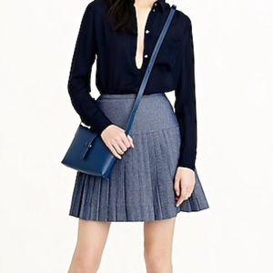 J. Crew Chambray Pleated Mini Skirt